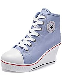 Women's Sneaker High-Heeled Canvas Shoes High-Top Wedge...