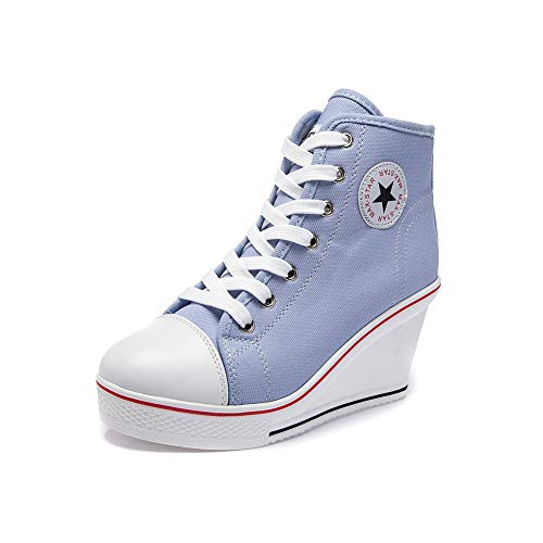Sokaly Women's Sneaker High-Heeled Canvas Shoes High-Top Wedge Sneakers Platform Lace up Side Zipper Pump Fashion Sneakers (6-6.5 B(M) US, Blue)