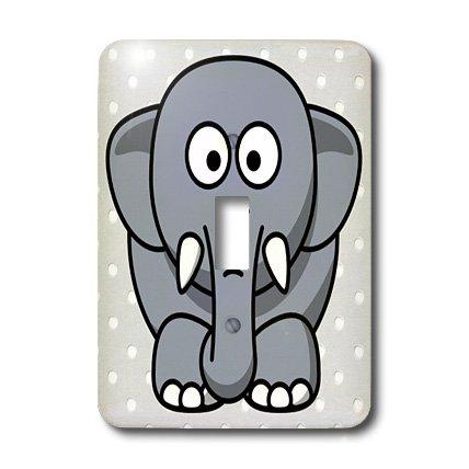3dRose LLC lsp_38955_1 Cute Gray Elephant Single Toggle Switch
