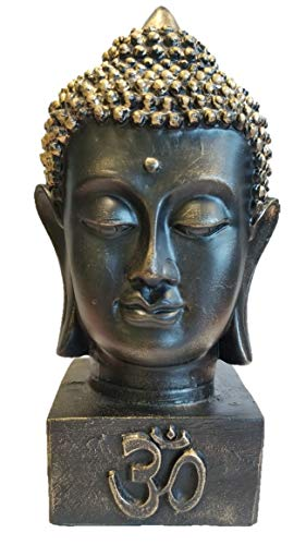 (RK Collections Meditating Buddha Bust Head Statue in Elegant Black with Brushed Bronze Finish. Premium Statue Made of Marble Powder.)
