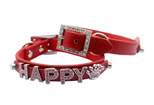 Personalized Croc Crocodile PU Leather Pet Dog Cat Collar with Rhinestone Buckle, Free Name (up to 6 free letters) & Charm (1 free charm) XS S M Extra Small Medium (XS / S / M)