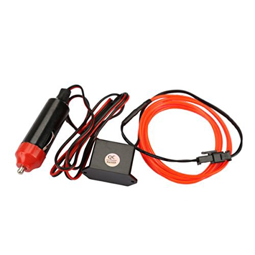VORCOOL Tubo LED Hilo flexible El Wire con cable interruptor de potencia y Driver Decoració n Coche Fai Da Te (Rojo) WUX0F2512O442QMG2791A