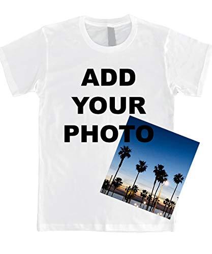 Custom T Shirts Ultra Soft Add Your Photo, Logo for Men & Women Unisex Cotton T Shirt [White/L]]()