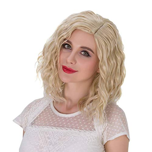 - Alacos Fashion 35cm Short Curly Full Head Wig Heat Resistant Daily Dress Carnival Party Masquerade Anime Cosplay Wig +Wig Cap (Pale Blonde)