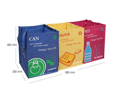 Cubo de basura de reciclaje juego de 3 bolsas de reciclaje con asas de transporte