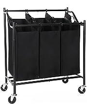 SONGMICS 3-Bag Rolling Laundry Sorter Cart Hamper, with Removable Bags Brake Casters, Black URLS70H