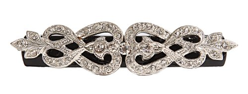 Caravan Hand Decorated Victorian Design on French Barrette Using Swarovski Crystal Stones, Black, Large.65 Ounce