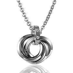 ANAZOZ Women's Stainless Steel Pendant Necklace Fourth Ring Interlocking Rectangular Cubic Zirconia Inlaid Silver Female,Free Engraving