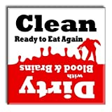 Clean Dirty Dishwasher Magnet Sign Indicator - Funny Zombie Apocalypse Novelty Party Gag Gift