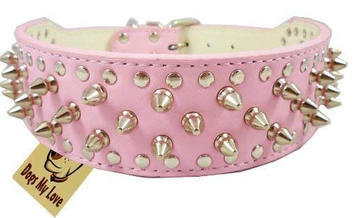 "17""-20"" Pink Leather Spiked Studded Dog Collar 2"" Wide, 31 Spikes 52 Studs"