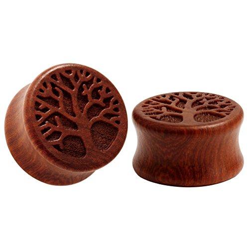 KUBOOZ Life Tree Pattern Classic Wood Ear Plugs Natural Red Sandalwood Hand Carved Ear Piercing 12mm ()