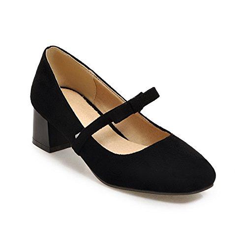 Balamasa Femmes Chunky Talons Filé Or Bowknot Carré-orteil Vache Imité Daim Pompes-chaussures Noir