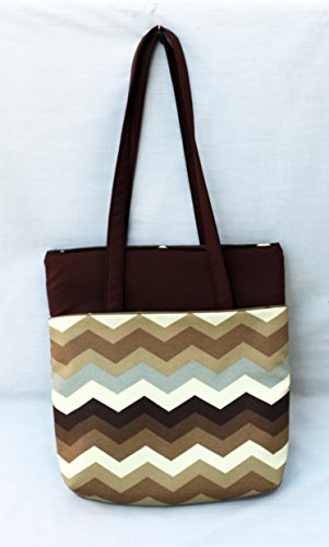 heavy-duty-tote-bag-with-zippers-fully-padded-and-lined-brown-chevron-pattern-washable-and-iron-safe