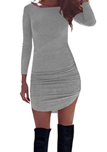 Tagliato Grigio Matita Lungezza Puro Sottile Coolred Colore donne Vestito Medio Girocollo 7qw6aO