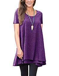 Women Short- Long Sleeve Blouse Layered Scoop Neck Tunic Loose Fit Dress