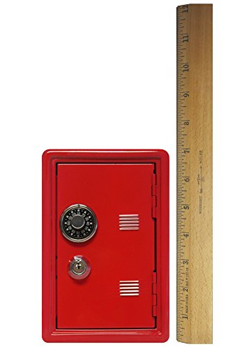 "Kid's Coin Bank Locker Safe with Single Number Combination Lock and Key - 7"" High Red"