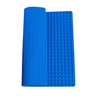 """Strictly Briks Classic Blue Double Sided Roll Up Building Mat - 15"""" x 15"""" - 100% Compatible with All Major Brands"""