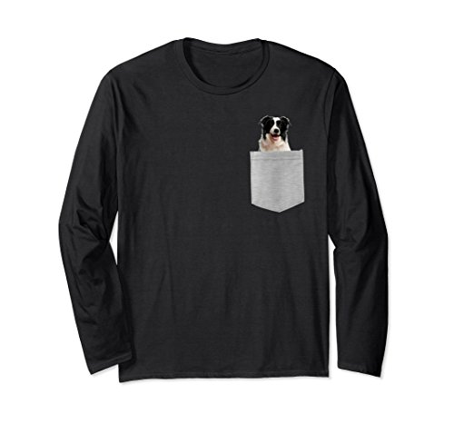 Unisex Dog in Your Pocket border collie Longsleeved T-shirt Medium (Collie Long Sleeved)