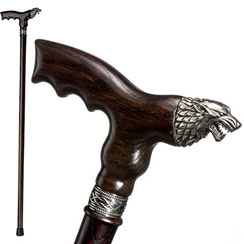 Fancy Walking Canes for Men - Direwolf - Fashionable Handcrafted Wooden Canes and Walking Sticks - Wolf Head Cane (Fancy Walking Sticks Canes)