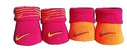 Nike Newborn Baby Booties Pink & Orange , Size 0-6 Months. 2 Pair. (Pink/Orange, 0-6 months)