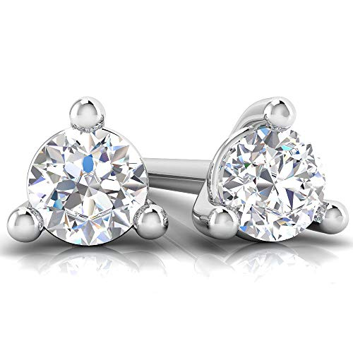 1/10 Carat 10K White Gold Lab Grown Martini Diamond Stud Earrings for Women (F-G Color, SI Clarity) (Diamond Martini Earrings Stud)