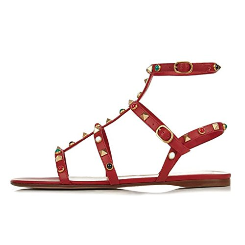 EKS Women's Flats Sandals Rivets Studs Open Toe Straps Summer Flats Shoes Dark Red With Double Straps(diamonds) PmcXx95xE