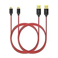 [2-Pack] Cable micro USB anker trenzado de nylon de 6 pies /1,8 m Anker con conectores enchapados en oro para Android, Samsung, HTC, Nokia, Sony y más (rojo)