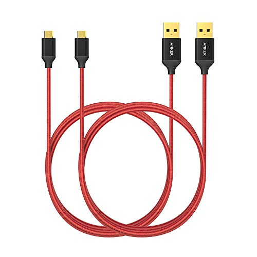 [2-Pack] Anker Nylon Braided Tangle-Free Micro USB Cable with Gold-Plated Connectors for Android, Samsung, HTC, Nokia, Sony and More (Red, 6ft)