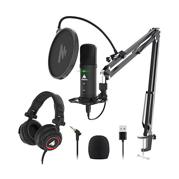 USB Microphone with Studio Headphone Set 192KHz24Bit Zero Latency Monitoring MAONO AU PM401H Computer