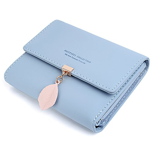 UTO Small Wallet for Women PU Leather Leaf Pendant Card Holder Organizer Girls Zipper Coin Purse (Light Blue)