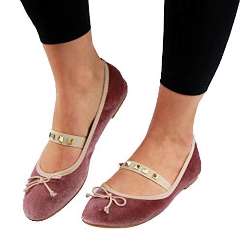 - Cenglings Women's Casual Round Toe Velvet Flat Shoes Bowknot Ballerinas Slip On Ballet Sandals Rivets Dress Sandals Pink