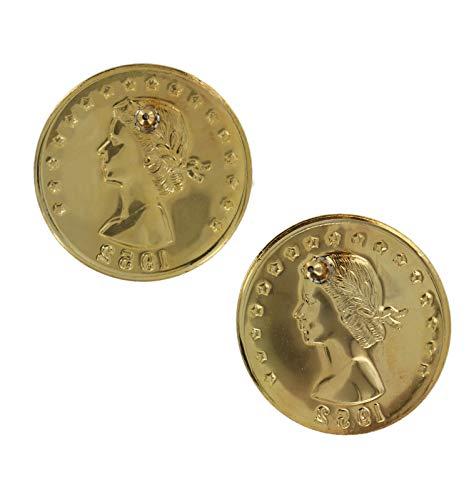 - Pierced Earrings Queen Elizabeth II Gold Tone Faux 1952 Regina Coin 1 1/2