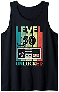 Level 50 Unlocked  Video Gamer 50th Birthday Gifts Tee Tank Top T-shirt | Size S - 5XL