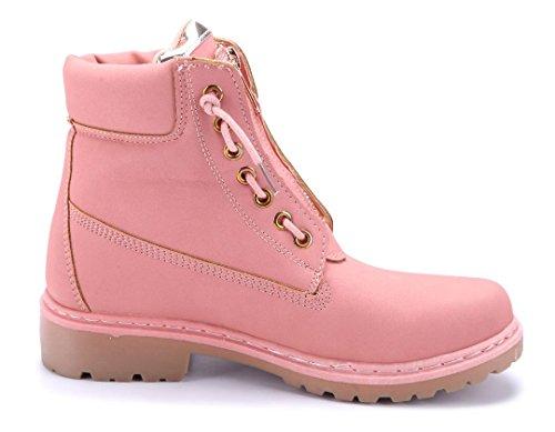 Schuhtempel24 Damen Schuhe Boots Stiefel Stiefeletten Blockabsatz 3 cm Rosa