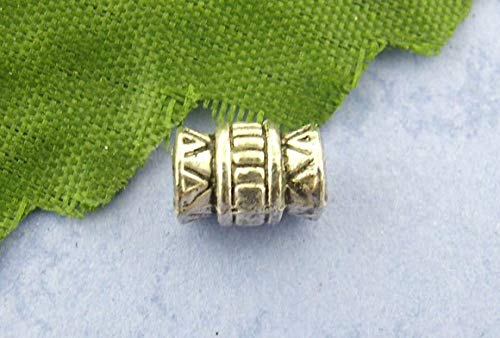 Calvas Zinc Metal Alloy Spacer Beads Barrel Antique Silver StripeColor Plated About 7mmx5mm,Hole:Approx 3mm,20 PCs ()
