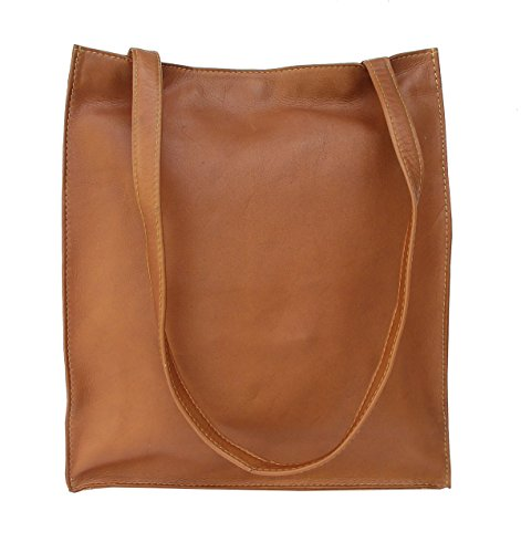 Piel Leather Open Market Bag in Saddle