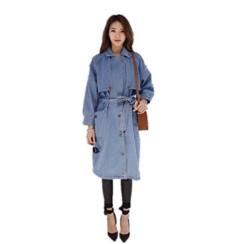 Lin Single Breasted Blazer - Tengfurich Tengfu Women Casual Loose Single Breasted Blue Long Denim Coat Jacket Blazer