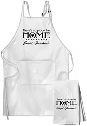 There'S No Place Like Home Except Grandma'S Flour Sack Kitchen Towel & Apron Set
