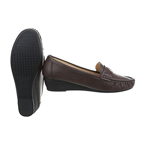 Ital-design Femmes Chaussures Mocassins Compensés Mocassins Marron Taille 40