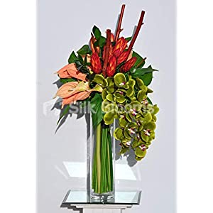 Silk Blooms Ltd Artificial Orange Ginger Flower and Green Orchid Floral Arrangement w/Peach Anthuriums and Wood 113