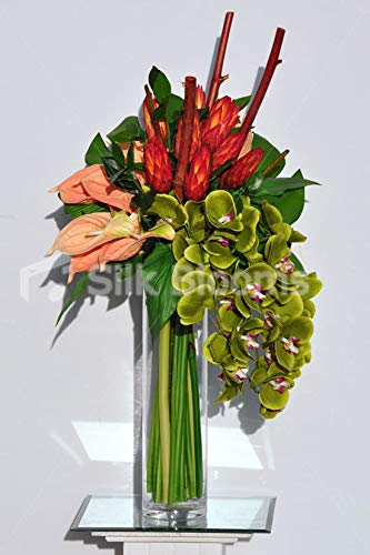 Silk-Blooms-Ltd-Artificial-Orange-Ginger-Flower-and-Green-Orchid-Floral-Arrangement-wPeach-Anthuriums-and-Wood