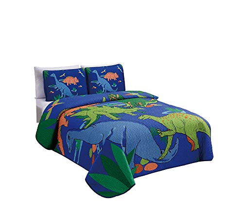 Elegant Home Multicolors Blue Green Orange Dinosaurs Design 2 Piece Coverlet Bedspread Quilt for Kids Teens Boys # New Dinosaur (Twin Size) ()