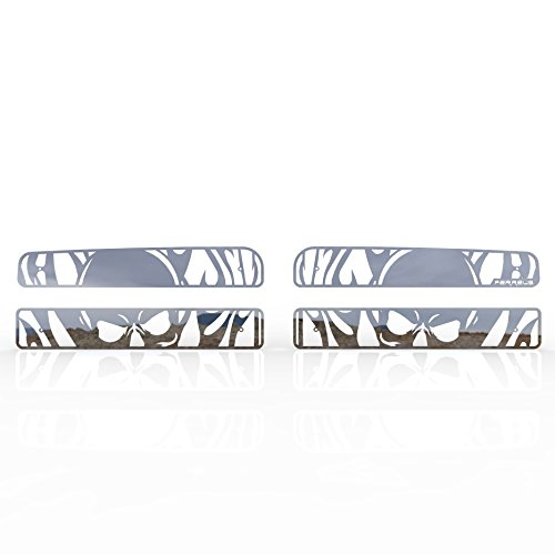 1994-2002 Dodge Ram 3500 TRK-114-10-Chrome-c Ferreus Industries Grille Insert Guard Skull Flame Polished Stainless fits