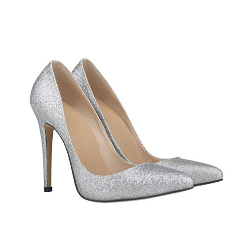 Meijunter Dames Bling Sexy 11CM Svelte Talons hauts Bouche superficielle Pointu Briller Chaussures silver BpN0m