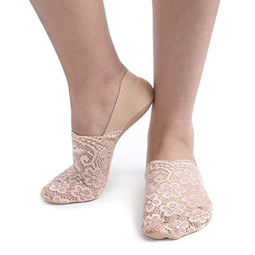 Women's Floral Lace No Show Socks Cotton Bottom Nonslip Heel Grip (6 Pairs- beige) ()