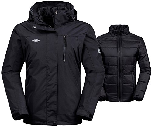 Down Under Cotton Hat (Wantdo Women's 3-In-1 Waterproof Ski Jacket Windproof Puff Liner Winter Coat Black US XX-Large)