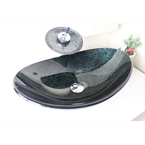 PST@ Boat-shaped glass container sink set / faucet / bathroom installation / drainage (545 370 155 12mm) 30%OFF