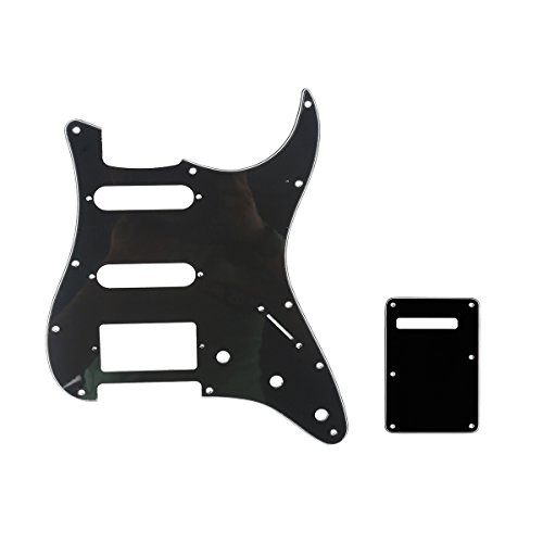 Fat Strat Pickguard - Musiclily HSS 11 Holes Strat Electric Guitar Pickguard and BackPlate Set for Fender US/Mexico Made Standard Stratocaster Modern Style Guitar Parts,3Ply Black