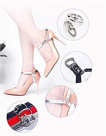 Nero 2 pezzi Cinghie per scarpe staccabili Tacco alto Cintura alla caviglia allentata Accessorio rimovibile Cinghie per tacchi per scarpe istantanee