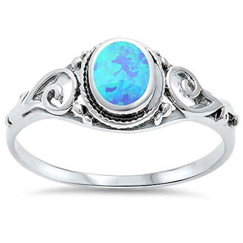 Oxford Diamond Co .925 Sterling Silver Lab Created Opal Antique Filigree Braided Ring Sizes 5-10 ()